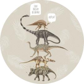 Behangexpresse Sofie & Junar Circle INK322 Live,Dream,Be Brave Sand/Dinosaurus/Bladeren
