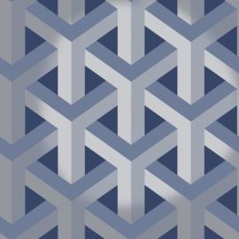 Dutch Wallcoverings Indulgence Behang 12810 Glistening Trident Geo Navy/3D/Geometrisch/Modern