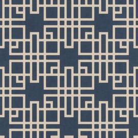 Rasch Kimono Behang 409253 Modern/Art Deco/Structuur/Grafisch/Blauw