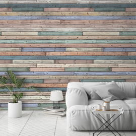 Dutch Wallcoverings One Roll One Life Behang A42401 Colored Wood/Hout/Planken/Horizontaal/Multi