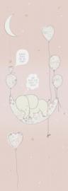 Behangexpresse Sofie & Junar Fotobehang INK7625 Elephant in the room Pink/Olifant/Maan/Tekst