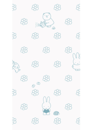 Kek Nijntje WP-522 Miffy Flowers Blue Behang - Dutch Wallcoverings/Kek Amsterdam