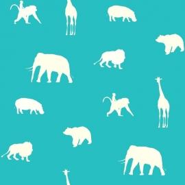 Esta Giggle Behang 137337 Dieren/Turquoise/Animals/Kinderkamer