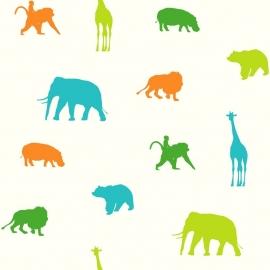 Esta Giggle Behang 137335 Dieren/Animals/Kinderkamer/Olifant/Giraf
