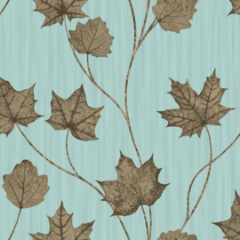 Dutch Wallcoverings First Class Elements Behang 90400 Maple Teal/Bladeren/Natuurlijk
