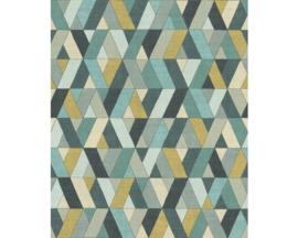 Rasch Barbara Home Collection Behang 536744 Grafisch/Modern/Ruit/Geel/Mint
