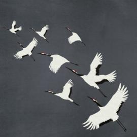 Origin Natural Fabrics Fotobehang 357235 Cranes/Vliegende Kraanvogels/Vogels/Dieren/Modern/Natuurlijk Behang