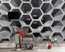 AS Creation Designwalls Fotobehang DD118738 Honey Comb Structure 1/Hexagon/Honingraat/Modern/Beton/Steen/Illusion