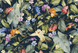Hookedonwalls Botanical Behang 19730 Anthea/Botanisch/Bloemen/Planten/Blauw