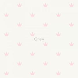 Origin Precious Behang 352-347702 Roze Kroontje/Landelijk/Romantisch/Kinderkamer
