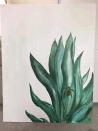 Kunst/Schilderij Botanische Bladeren met Tor/Canvas/Acrylverf/Wanddecoratie