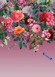 Dutch Wallcoverings/First Class Utopia Fotobehang 99340 Majorelle Mural Berry/Bloemen/Libelle