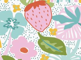 BN Wallcoverings Doodleedo Fotobehang 300442DX Strawberry Field XL/Aardbeien/Bloemen/Bladeren/Regenboog