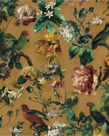 Eijffinger Museum Behang 307303 Bloemen/Botanisch/Bladeren/Vogels/Vlinders/Geel/Oker/Goudgeel