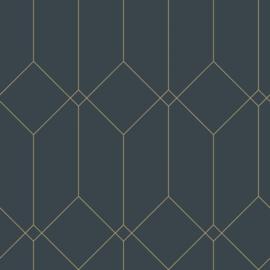Esta Home Art Deco Behang 156-139225 Grafisch/Modern/Art deco motief/Donkerblauw