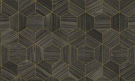 Arte Ligna Behang 42035 Hive/ Hexagon/Exclusief Wandbekleding Goud