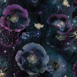 Arthouse Fantasia Behang 692301 Nocturnal Purple Teal/Flowers/Bloemen