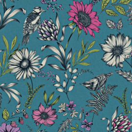 Arthouse Bloom Behang 676001 Botanical Songbird Teal/Bloemen/Floral/Botanisch