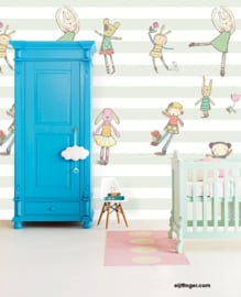 Eijffinger Wallpower Junior 364100 Behang Cuddles Stripe/Pastel/Knuffels/Ballet Fotobehang