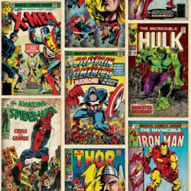 Noordwand Kids@Home Individual Behang 70-238 Marvel Action Heroes/Strip/Helden/Iron/Spiderman/Thor/Kinderkamer
