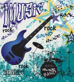 Dimex Fotobehang Blue Guitar MS-3-0323 Guitar/Gitaar/Ster/Rock/Soul/Muziek