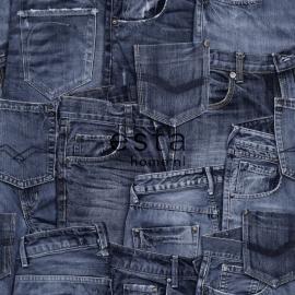 Esta Home Denim & Co Behang 137736 Denim Dark Blue/Spijkerbroeken/Tienerbehang