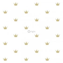 Origin Precious behang 352-347678 Kroontje/Romantisch/Goud/Kinderkamer