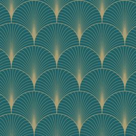 Esta Home Art Deco Behang 156-139230 Grafisch/Modern/Art deco motief/Petrol