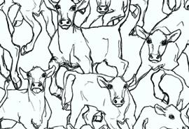 Hookedonwalls Marimekko Behang 14106 Iltavilli/Grafisch/Modern/Dieren/Koeien