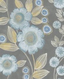 Eijffinger Grenada Behang 367021 Bloemen/Modern/Romantisch/Grijs/Geel/Blauw
