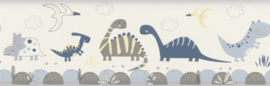 Rasch Bambino 248869 Dinosaurus/Blauw/Peuter/Kleuter Behang- Rand
