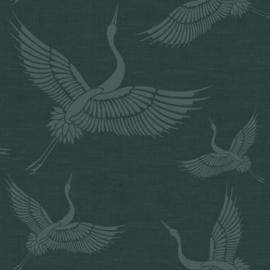 Origin Natural Fabrics Behang 351-347759 Cranes/Kraanvogels/Vogels/Dieren