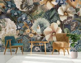 Behangexpresse Floral-Utopia Fotobehang INK7576 Eden Blues/Bloemen/Vlinders