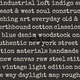 Esta Home Denim & Co Behang 137708 Grafisch/Industrieel/Modern/Tekst Behang