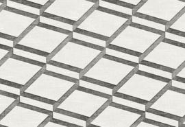 Hookedonwalls Blooming Behang BL22730 Modern/Squares/Grafisch/Geometrisch/2D/Zilver