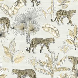 Dutch Wallcoverings Jungle Fever Behang JF2101 Leopard/Botanisch/Dieren/Luipaard/Bladeren/Natuurlijk
