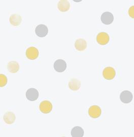 Noordwand Kids@Home Individual Behang 108264 Dotty Polka Yellow Silver/Stippen/Dots/Geel/Kinderkamer
