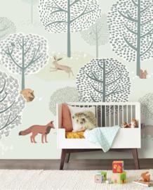 Eijffinger Mini Me Behang 399116 Dieren/Bosdieren/Forest Animals/Bos/Vos/Kinderkamer Fotobehang