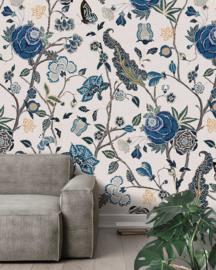Behangexpresse Floral-Utopia Fotobehang INK7571 Pomegranate Blue/Bloemen/Botanisch