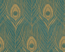 AS Creation Absolutely Chic Behang 36971-4 Grafisch/Pauw/Veren/Peacock/Natuurlijk/Groen/Goud