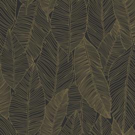 Esta Home Black & White Behang 155-139126 Botanisch/Bladeren/Modern/Natuurlijk/Zwart/Goud