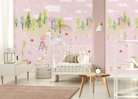 Behangexpresse Kate & Andy Fotobehang INK7450 Secret World Pink/Sprookje/Fantasie/Eenhoorn/Roze/Kinderkamer Behang