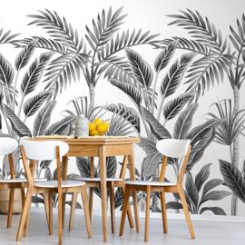 Dutch Wallcoverings One Roll One Motif Behang A40801 Tropical Forest/Bomen/Bladeren/Grijs/Modern/Natuurlijk