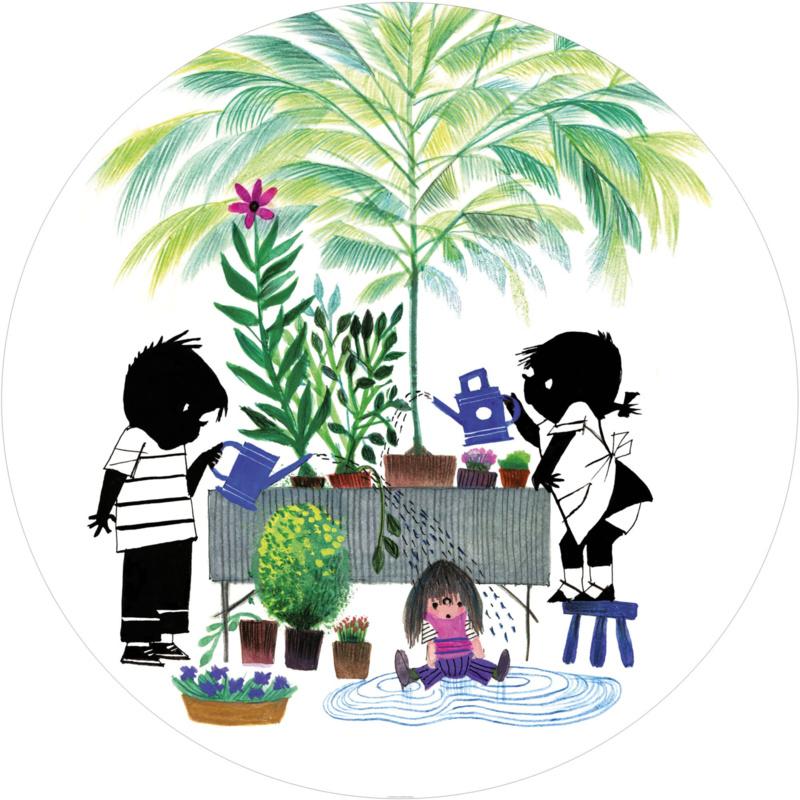 KEK Amsterdam Kids Fotobehang Circle CK-082 Jip & Janneke Gardening/Tuin/Planten/Kinderkamer Behang