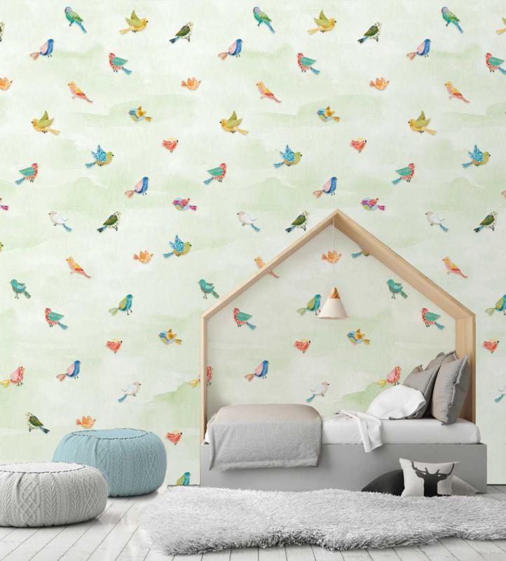 Behangexpresse Kate & Andy Fotobehang INK7428 Fun Birds Green/Vogels/Dieren/Kinderkamer Behang
