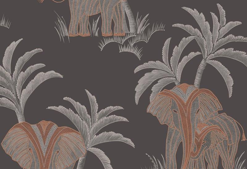 Hookedonwalls Exotique Behang 17300 Tembo/Olifant/Palmboom