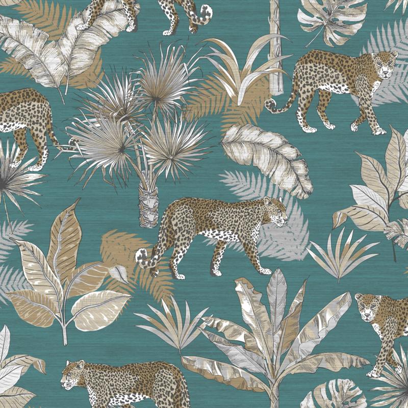 Dutch Wallcoverings Jungle Fever Behang JF2104 Leopard/Luipaard/Botanisch/Planten/Dieren