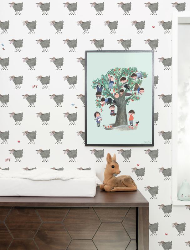Kek Amsterdam Behangpaneel Sheep 2d WP-123 Schapen/Dieren/Kinderkamer Fotobehang