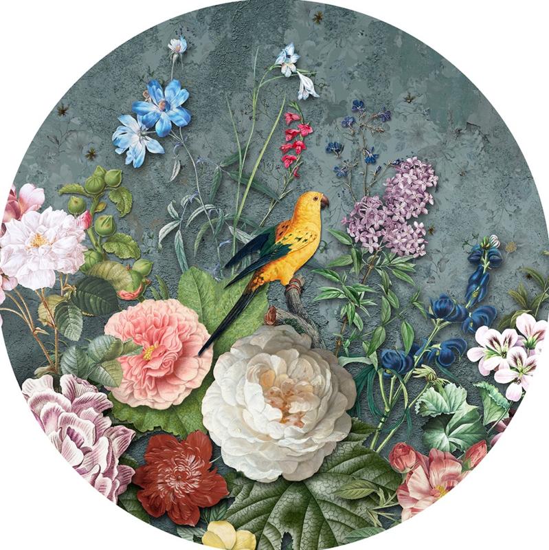 Behangexpresse Floral-Utopia Cirkel INK302 Abundance Dark/Beton/Bloemen/Vogels