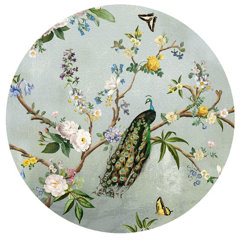 Behangexpresse Floral-Utopia Cirkel INK7596 Secret Garden Turquoise/Botanisch/Pauw/Bloemen